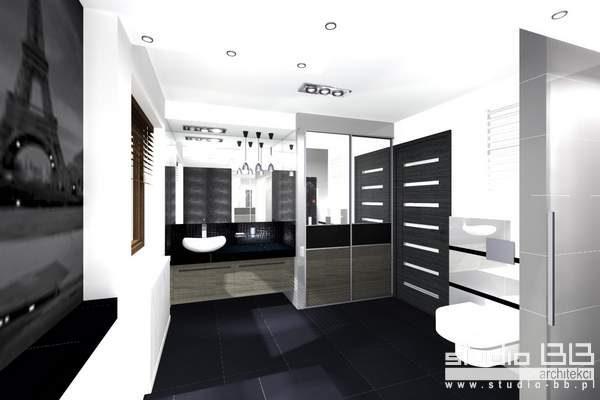 łazienka Czerń I Biel Studio Bb Architekci